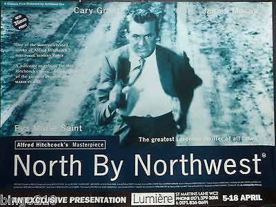 North By Northwest Orig 90's Re-Release Quad Poster Alfred Hitchcock Cary Grant