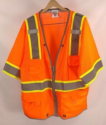 ML KISHIGO 1551- XL High Visibility Safety Vest Zipper Orange Yellow Neon