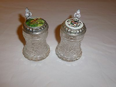 2 Cute Glass Tankards with Decorated Pewter Lids  by BMF (Height of Glass 17cm)