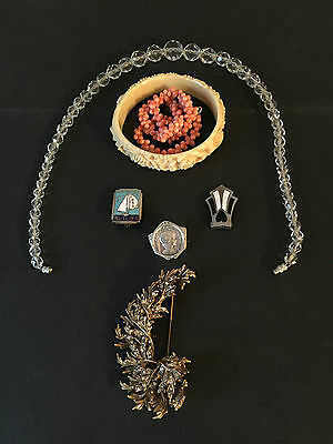 Collection Antique Jewelry Coral Necklace Lead Crystals Paste Brooch Art Deco