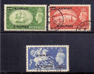 Kuwait. 3 GB surcharged used stamps. 1951. SG 90 to 92