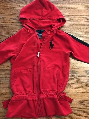 Polo, Ralph Lauren Toddler Girls Size 4T Red, Black Zip Front Sweatshirt, Hoodie