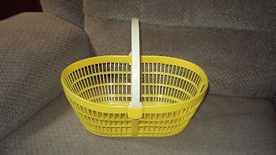 Vintage Plastic Easter Basket (Hard To Find) Yellow, White