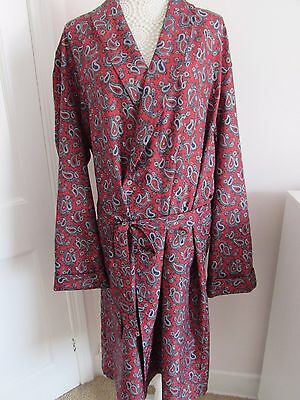 Tootal - Paisley Print Vintage / Retro Red Dressing Gown / Robe Vintage XL