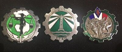 Lot 3 insignes Indochine FTEO Train argent