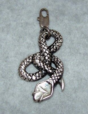 Authentic LALIQUE France Silver Serpent Snake Crystal Head Charm Necklace NIB