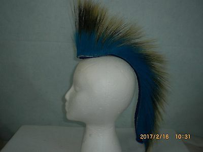 Porcupine Roach, Turquoise out, 15 inch, Bright Blue Yarn Base