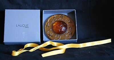 Lalique Amber Noel Globe With Original Box