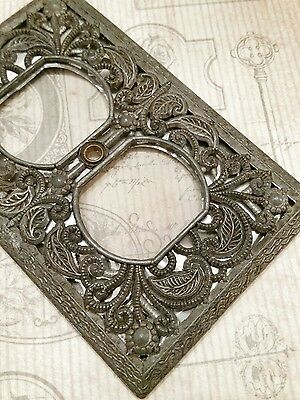 VTG Ornate Pewter Metal Electric Outlet Cover Silver Foil Backed Victorian