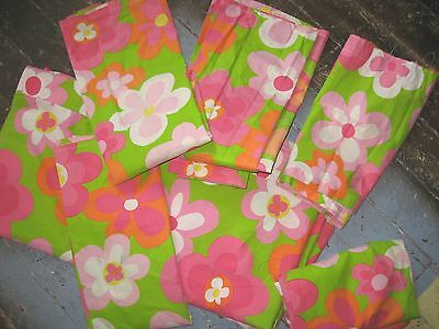 1960's  6Pc Flower Power Psychedelic Bedroom Set Bedspread Curtains Sears Perma