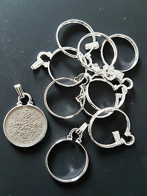 10 x PERFECT FIT SIXPENCE COIN CINCH BEZEL HOLDER PENDANT- GOLD OR SILVER PLATED
