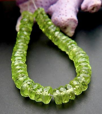52 FINEST AAAAA FACETED 3.7-4.7mm GLOWING APPLE GREEN PERIDOT BEADS
