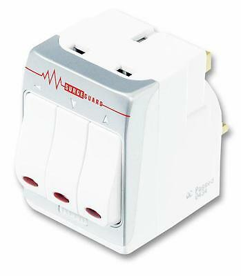Masterplug - MSWRG3 - 3 Way Individually Switched Surge Protected Adaptor