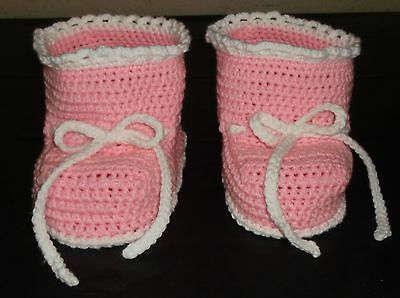 Adult Baby Booties Crochet One Size Fits All Baby Pink With Baby White Trim