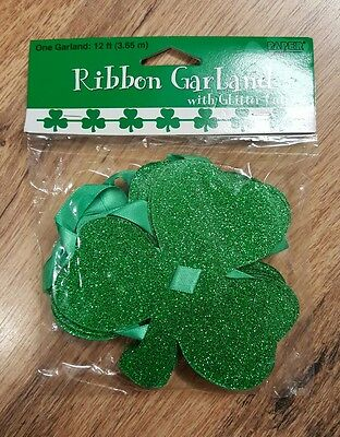 St Patricks Irish Party - 12ft Ribbon Garland with Glitter Cutouts -Free Post UK