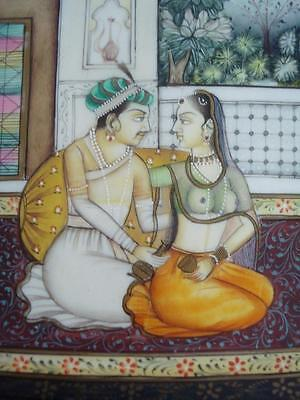 Fine Pair Antique Mughal Indian Miniature Paintings Lovers 19Th Cent