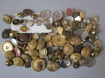 A Mixed Lot of Gold / Silver-tone 'Bling' Buttons ~ Some Vintage / Metal Plastic