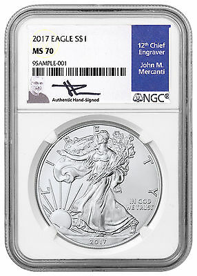 2017 American Silver Eagle NGC MS70 (Mercanti Signed Blue Label) SKU45628