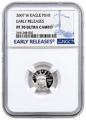 2007-W 1/10 Oz Platinum Eagle $10 NGC PF70 UC ER Early Releases SKU17024