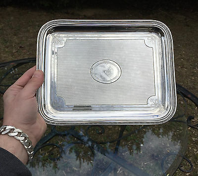 """Gorgeous French CHRISTOFLE Silver 10.75"""" x 8.25"""" GUILLOCHE Table Desk Tray"""