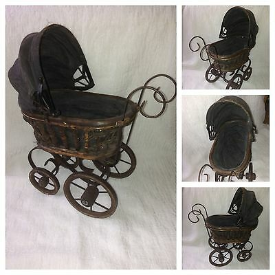 Beautiful Antique Vintage Victorian Doll Carriage Buggy Stroller Wicker Wood