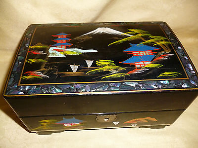 Vintage Japanese DAYSON Laquerware Musical Jewellery Box