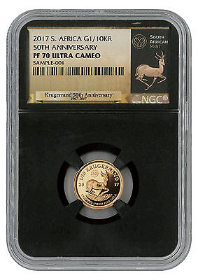 2017 South Africa 1/10 oz Gold Krugerrand NGC PF70 UC (Exclusive Black) SKU45656