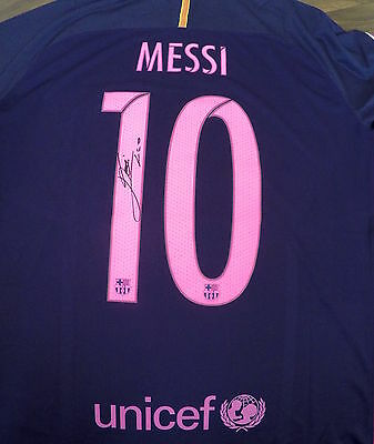Lionel Messi Signed FC Barcelona New 2016-17 away Shirt Extra Large Men's