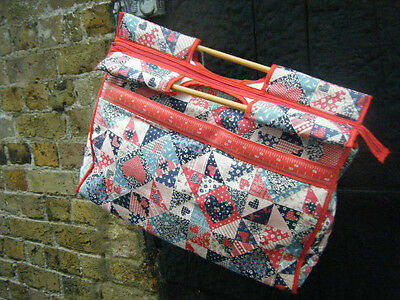 Lovely Patchwork Style Vintage Knitting Needles Bag - Excellent - Great - Gift