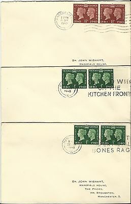 Gb Kgv1 1940 Covers To Manchester Used
