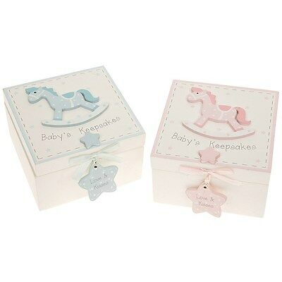 Baby boy girl new baby wooden rocking horse keepsake box gift present babies new