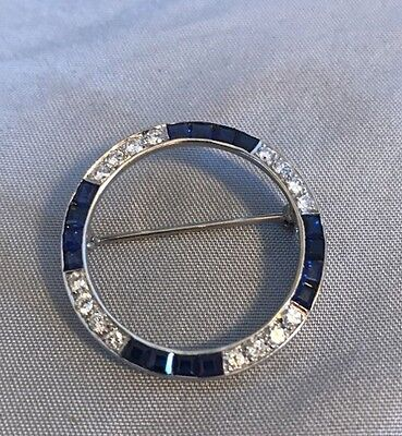 Art Deco 14K White Gold Diamond Sapphire Circle Of Life Brooch Pin 4.8G