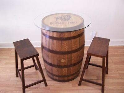 "Buffalo Trace Whiskey Barrel Table-30""Glass Top (2) 24' Bar Stools-FREE SHIPPING"