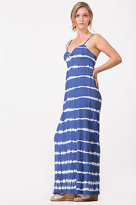Sleeveless Blue White Tie Dye Maxi Dress By Golden State Size S