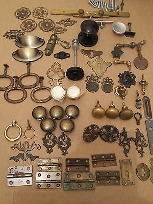 Vintage drawer knobs, handles, escutcheon and latches job lot