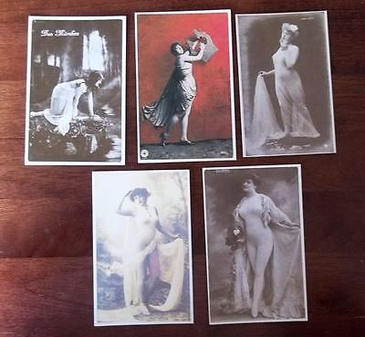 Vintage Repro Glamour Postcards,delightful Ladies, Lot Of 5