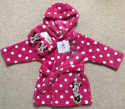 Baby Girl Minnie Mouse Bath Robe/Dressing Gown With Sleepers, Hoodie 6-9 Months