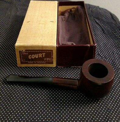 The Court No.122 Smoking Pipe Made In England Hyde Park NOS In Box with Pouch