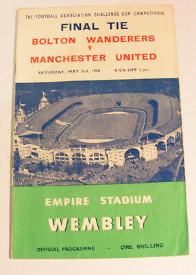 Bolton Wanderers V Manchester United 3/5/1958 F. A. Cup Final  Programme
