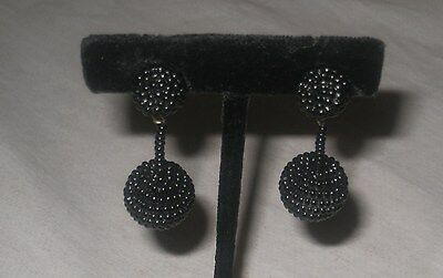 Victorian French Jet Seed Beads Hand Beaded Mourning Dangle Earrings