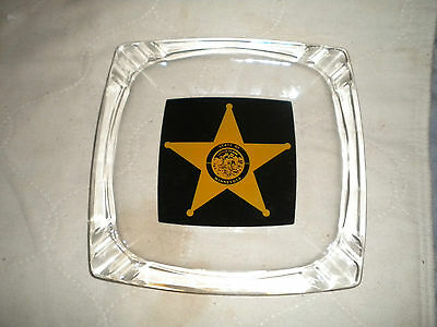 "Vintage 60's Law Enforcement Sheriff 8"" Reverse Painted Ashtray~Minnesota Police"