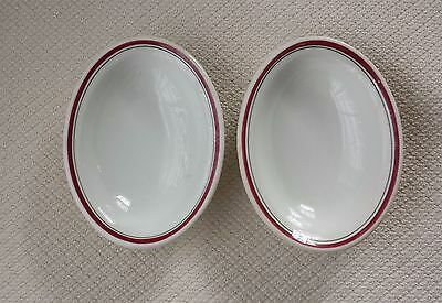 2 Restaurant Ware Oval Bowls Albert Pick & Company Red and Green Stripe
