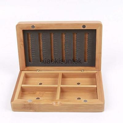 Waterproof Bamboo Wood Fly Fishing Tackle Carry Box Lure Bait Hook Fly Case