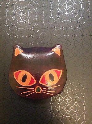 Leather Cat Face Little Purse With Popper, New