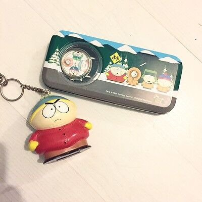 Rare Collectable Talking South Park Watch In Gift Tin With Cartman Keyring