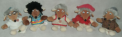 "5 x The Wombles Beanies 6"" soft toys plush Golden Bear 1998 Some Tagged"
