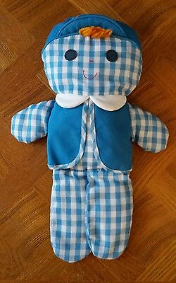 1977 Vintage Cholly Dolly #419 Fisher Price Blue Gingham Rattle Doll Lovey