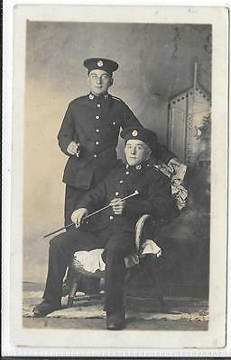 WW1 Photographic Postcard Royal Marines 2 Brothers in Uniform