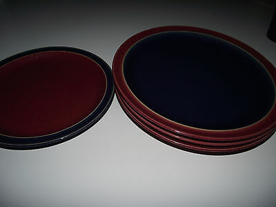 10pc 6 Dinner & 4 Salad Plates Denby HARLEQUIN Blue RED Green EXC