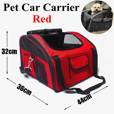Red Size L Pet Puppy Car Seat Carrier For Travel Outdoor Safety Adjustable UK